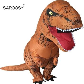 Cool SAROOSY New T Rex Inflatable Costumes for Adult Dinosaur Halloween Cosplay Costume Free Send 1 Pcs Electric Pump FansAT_93_12