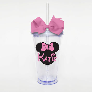 Personalized Disney Minnie Mouse Silhouette w/ Name - Acrylic Tumbler Personalized Cup