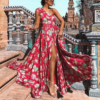 One Shoulder Flower Print High Waist Split Long Beach Dress