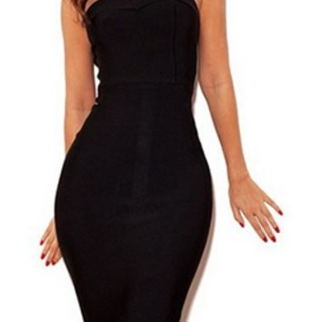 Black Strapless Fishtail Ruffle Zip Back Bandage Bodycon Midi Dress