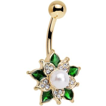 Clear Green Gem White Orb Gold Anodized Holiday Flower Belly Ring