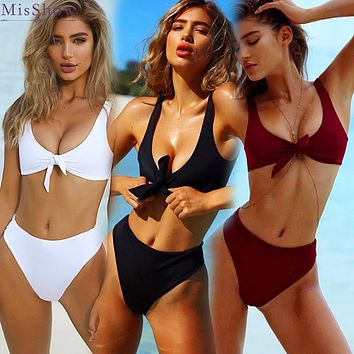 MisShow 2018 Sexy Vest Women Bikinis Set Strap Swimsuit High Waist Women Swimwear Front Tie Knot Biquini Solid Bathing Suit