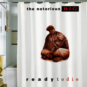 "notorious biggie shower curtain by holidayshowercurtain size 36"" x 72"", 48"" x 72"", 60"" x 72"" , 66"" x 72"""