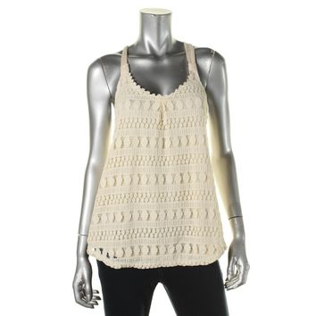 Rewind Womens Juniors Crochet Front Racerback Tank Top