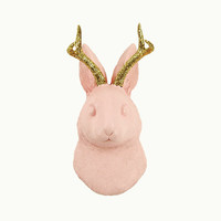 White Faux Taxidermy Exclusive - The Corduroy in Cameo Pink w/Gold Glitter Antlers - Jackrabbit Head- Jackalope Mount -Animal Friendly Decor