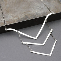 Hammered Silver Chevron Necklace