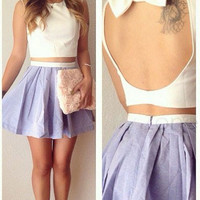 White Backless Cropped Top and Lavender Pleated Mini Skirt