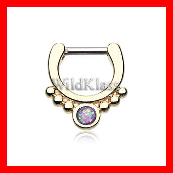 Purple Opal Gold Septum Clicker Golden Grandiose Septum Ring Cartilage Earrings Nipple Ring Circular Barbell Tragus Jewelry Helix Conch