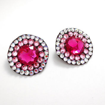 Pink Rhinestone Earrings, Ombre Earrings, Clear AB and Pink, Sparkling Jeweled Earrings