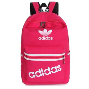 """Adidas"" Sport Travel Backpack College School Bag Laptop Bag Bookbag Pink"