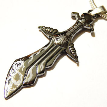 Sword And Dragon Pendant  - Stainless Steel - Magic - Fantasy - Pendants - Jewelry Supplies - Men's Pendant - Gothic - Steampunk