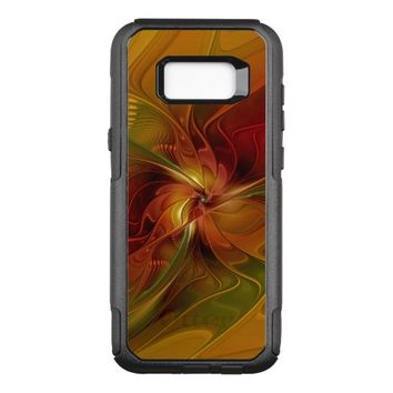 Abstract Red Orange Brown Green Fractal Art Flower OtterBox Commuter Samsung Galaxy S8+ Case