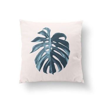 Monstera Leaf Pillow, Flower Illustration Pillow, Home Decor, Cushion Cover, Throw Pillow, Bedroom Decor,Bed Pillow, Decorative Pillow,