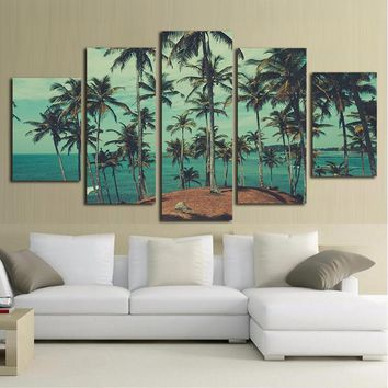 Palm Trees Beach Ocean Sea Wall Art Canvas Panel Print Framed UNframed