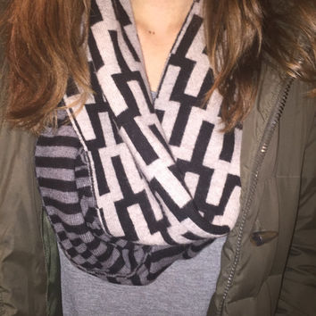Dual-print cashmere and wool infinity scarf