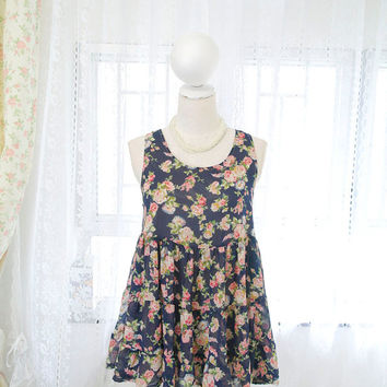 SALE - Sweet French Dress Navy Blue Chiffon Pink Floral Lace Trim (petite mini dress) Top Blouse