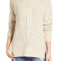 Cotton Emporium Cable Front Sweater | Nordstrom