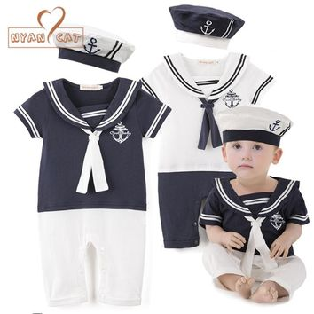 Nyan Cat Baby boy cotton outfit sailor navy style hat+romper short sleeve 2pcs set jumpsuit infantil summer birthday clothes
