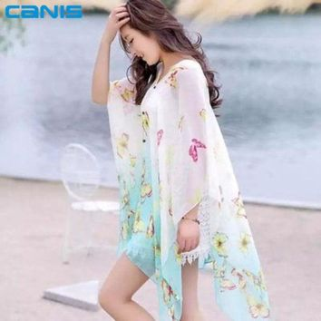 DCCKL3Z 2016 Women Cover up Dress New Summer Women Sexy Chiffon Beach Towel Pareo sarong Cover-up Off-shoulder Strapless Butterfly Dress