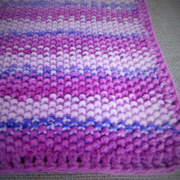 Hand Knitted Baby blanket shades of Pinks Crib Car Travel Small  Blanket   Moss stitch New Baby Christening Ready to Ship Worldwide UK