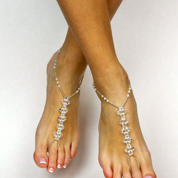 Swarovski Barefoot Sandals Bridal Jewelry Wedding Foot Jewelry Beach Wedding Anklet Bridesmaids Gift Bridal Foot Jewelry Foot Thong Barefoot