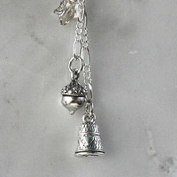 "Peter Pan Necklace with Thimble and Acorn  and Star Charm Kisses  ""Second star to the right, and straight on till morning"""