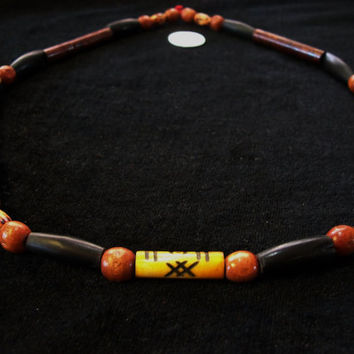 Bone Necklace with FreeMason Symbol - Horn, Wood, and Hand Carved Bone Beads - ONE OF A KIND
