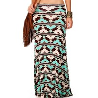 SALE-BrownMintTan Geometric Tribal Maxi Skirt