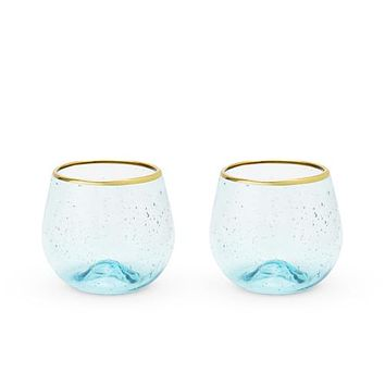 Seaside: Aqua Bubble Stemless Wine Glass Set by Twine