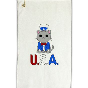 "Patriotic Cat - USA Micro Terry Gromet Golf Towel 11""x19 by TooLoud"