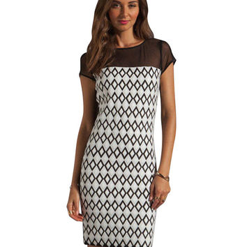 White Diamond Printed Shift Dress with Mesh Detail