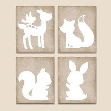 WOODLAND Nursery Wall Art,Woodland Animals Art,CANVAS or Prints,Wood Forest Animal,Rustic Baby Girl Nursery,Deer Fox Bunny Squirrel Set of 4
