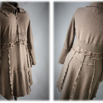 Womens Cashmere Sweater Coat Upcycled Refashioned Recycled Fabrics Camel Size M/L