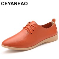 CEYANEAO Women oxford shoes Flats leather pointed toe moccasins mujer ballerina Lace up Ladies casual espadrille zapatos white