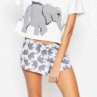 Cute Shorts Women Elephant Print Elastic Waist Comfortable Cotton Blend Knitted Stretchy Shorts Women Clothing S-XL B6702