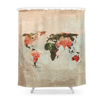 Society6 Vintage World Map Shower Curtains