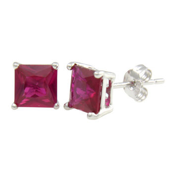 Sterling Silver Red Cubic Zirconia Princess 1Ct Stud Earrings