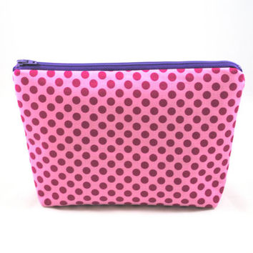 Pink and Purple Polka Dot Cosmetic Bag // Purple Make Up Pouch // Pink Zippered Pouch // Polka Dot Cosmetic Case // Toiletry Case