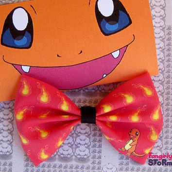 Pokemon Charmander Hair bow/ Bow tie choose red or white Handmade unique Geeky Kawaii Gamer Bow