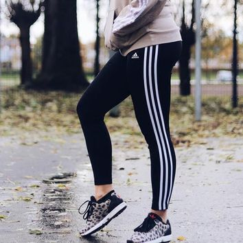 Adidas Three Stripe Legging In Black
