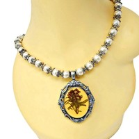Chunky Pearl Necklace with Large Pressed Flower Pendant Antiqued Silver Tone Fancy Frame and End Caps