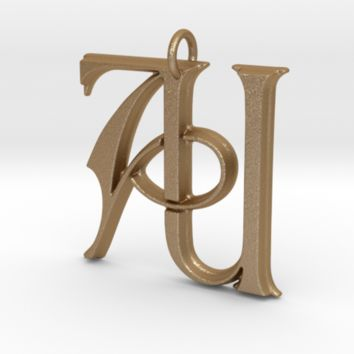 Monogram Initials AU Pendant by CalicoFlair on Shapeways
