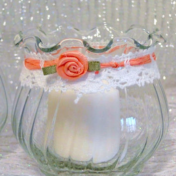 Votive Tea Light Candle Holder Set of 3 Glass Country Style Coral Flower, Raffia & Lace Candles Included