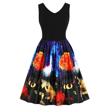 Wipalo Halloween Vintage Pumpkin And Bat Printed Pin Up Dress Sleeveless V Neck Knee Length Swing Dress Retro 1950s Vestidos