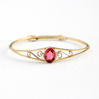 Vintage Children's Bracelet - 12k Rosy Yellow Gold Filled Filigree Pink Glass Stone Bangle - 1940s Adjustable Petite Young Girl 40s Jewelry