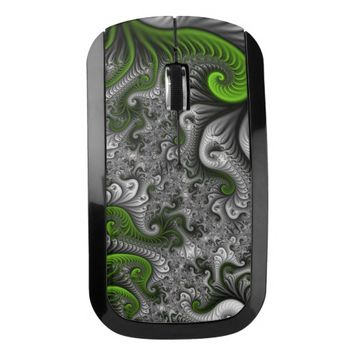 Fantasy World Green And Gray Abstract Fractal Art Wireless Mouse