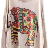 Chic Elephant Batwing-Sleeves Sweater - OASAP.com