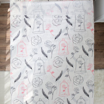 Disney Beauty And The Beast Rose & Feather Queen Sheet Set