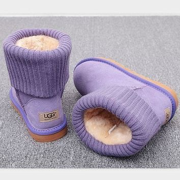 PEAP UGG Fashion Plush leather boots boots in tube Boots Purple