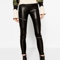 FAUX LEATHER BIKER TROUSERS DETAILS